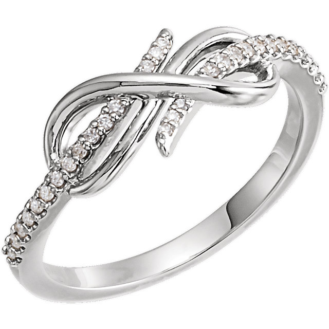 Appealing Jewelry in 14 Karat White Gold 0.12 Carat Total Weight Diamond Infinity-Inspired Ring