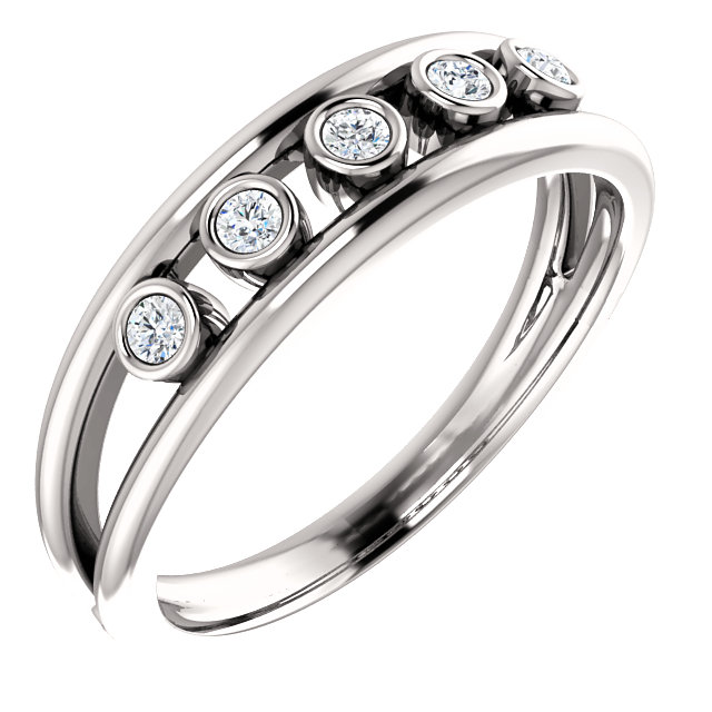 Low Price on 14 KT White Gold 0.12 Carat TW Diamond Negative Space Ring