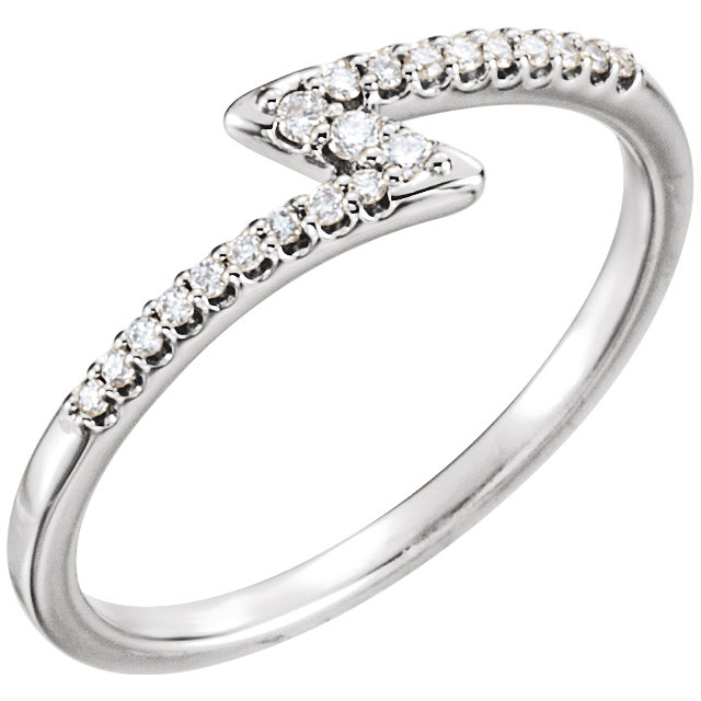 Genuine  14 KT White Gold 0.12 Carat TW Diamond Stackable Ring