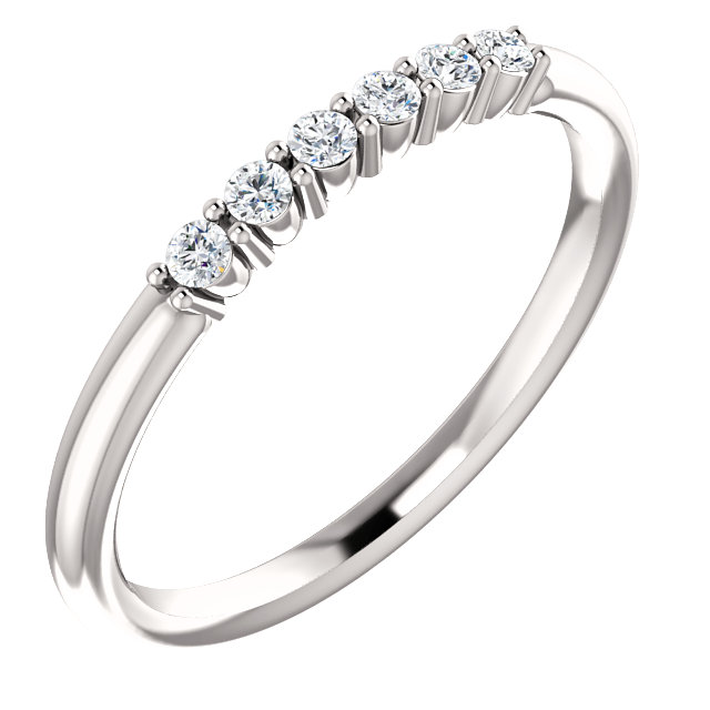 Appealing Jewelry in 14 Karat White Gold 0.12 Carat Total Weight Diamond Stackable Ring