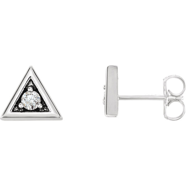 Wonderful 14 Karat White Gold 0.125 Carat Total Weight Round Genuine Diamond Triangle Earrings