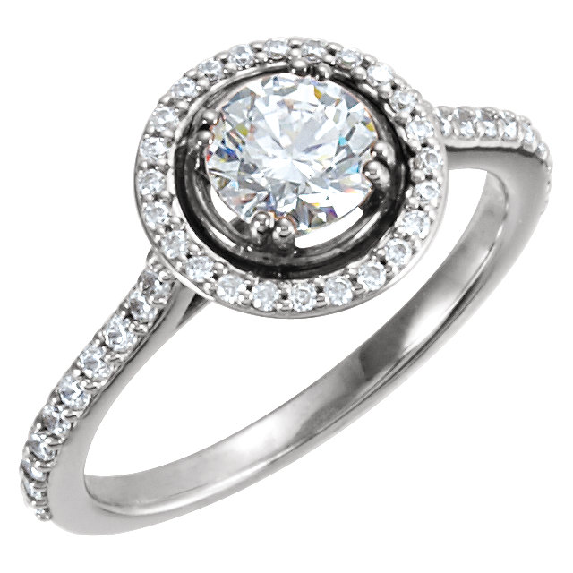 Jewelry in 14 KT White Gold 1 Carat TW Diamond Halo-Style Engagement Ring