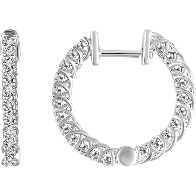 Great Gift in 14 Karat White Gold 1 Carat Total Weight Diamond Hoop Earrings