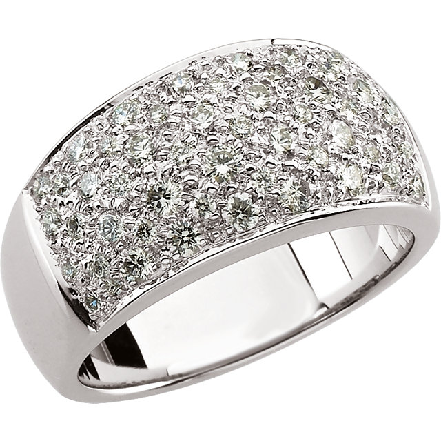 Good Looking 14 KT White Gold 1 Carat TW Round Genuine Diamond Micro Pave Ring Size 8