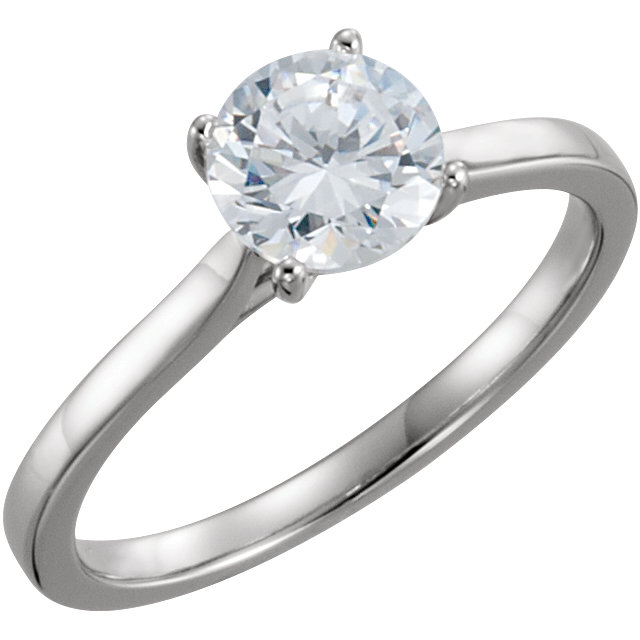 14 Karat White Gold 1 Carat Diamond Solitaire Engagement Ring