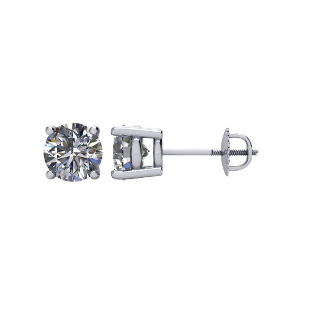 Surprise Her with  14 Karat White Gold 1 Carat Diamond Threaded Post Stud Earrings