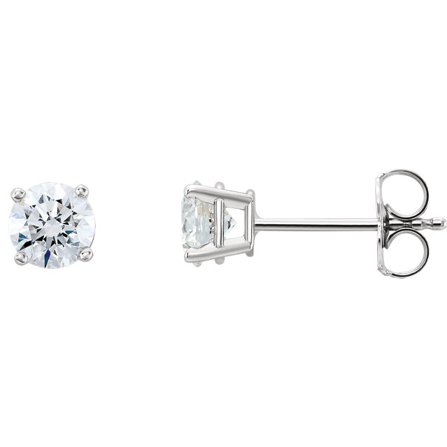 Chic 14 Karat White Gold 1 Carat Total Weight Lab-Grown Diamond Stud Earrings