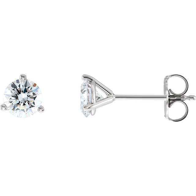 Stunning 14 Karat White Gold 1 Carat Total Weight Lab-Grown Diamond Stud Earrings