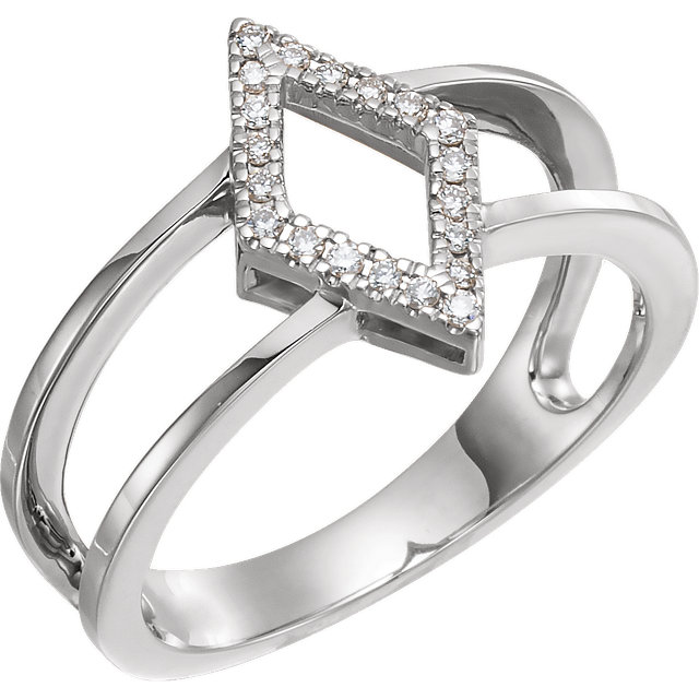 Shop Real 14 KT White Gold .10 Carat TW Geometric Diamond Ring