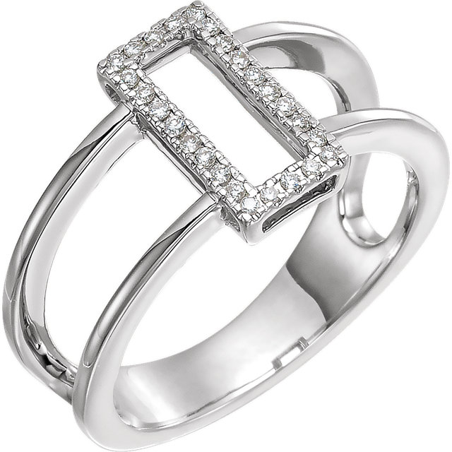 Low Price on Quality 14 KT White Gold .10 Carat TW ReCaratangle Geometric Diamond Ring
