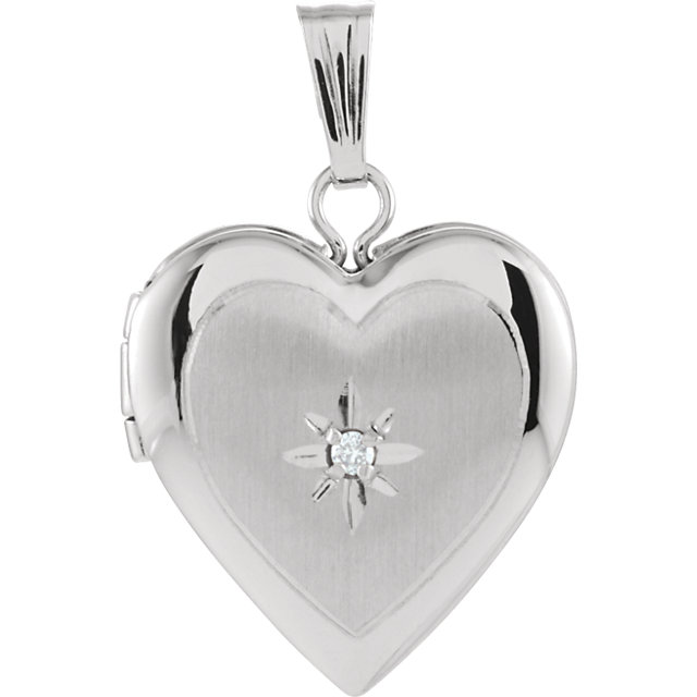 Contemporary 14 Karat White Gold 13.5x12.75mm .010 Carat Total Weight Diamond Heart Locket