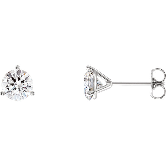 Eye Catchy 14 Karat White Gold 2 Carat Total Weight Lab-Grown Diamond Stud Earrings
