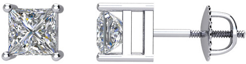 14 Karat White Gold 3/4 Carat Total Weight Diamond Earrings