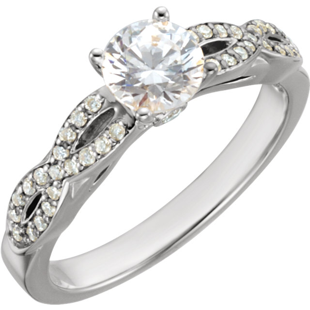 Quality 14 KT White Gold 0.75 Carat TW Diamond Engagement Ring