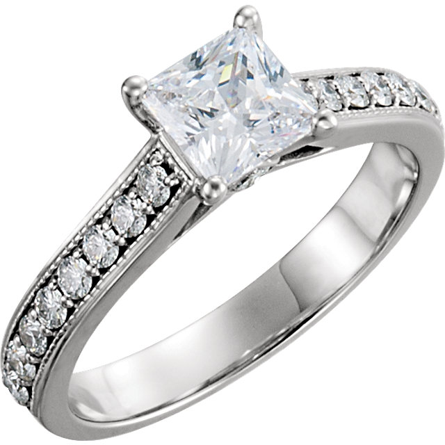 Fine 14 KT White Gold 0.75 Carat TW Diamond Engagement Ring