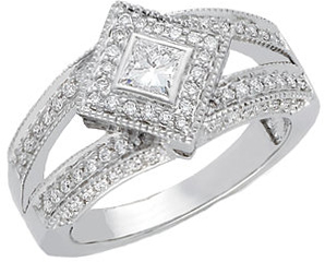 14 Karat White Gold 3/4 Carat Total Weight Diamond Engagement Ring