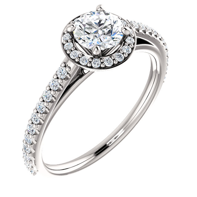 14 Karat White Gold 0.75 Carat Diamond Halo-Style Engagement Ring