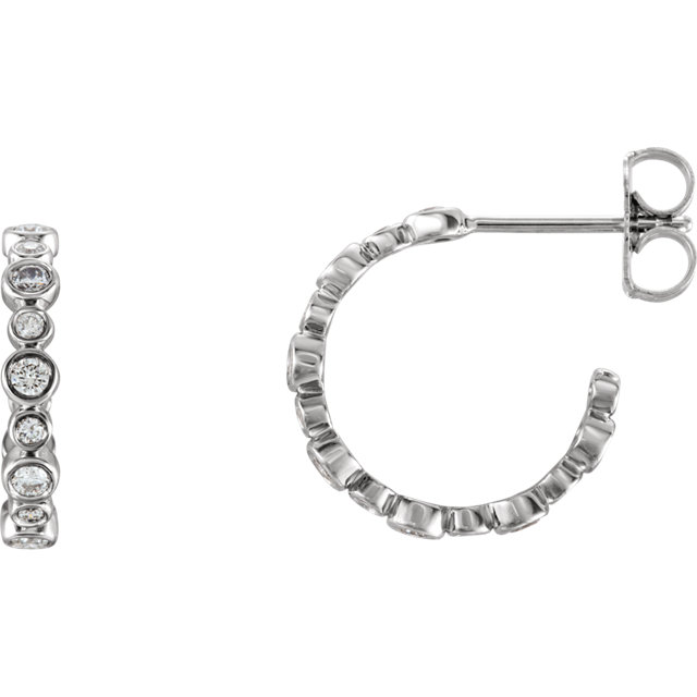 Appealing Jewelry in 14 Karat White Gold 0.40 Carat Total Weight Diamond Bezel-Set J-Hoop Earrings