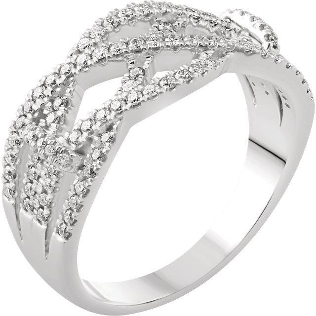 14 Karat White Gold 0.40 Carat Diamond Criss-Cross Ring