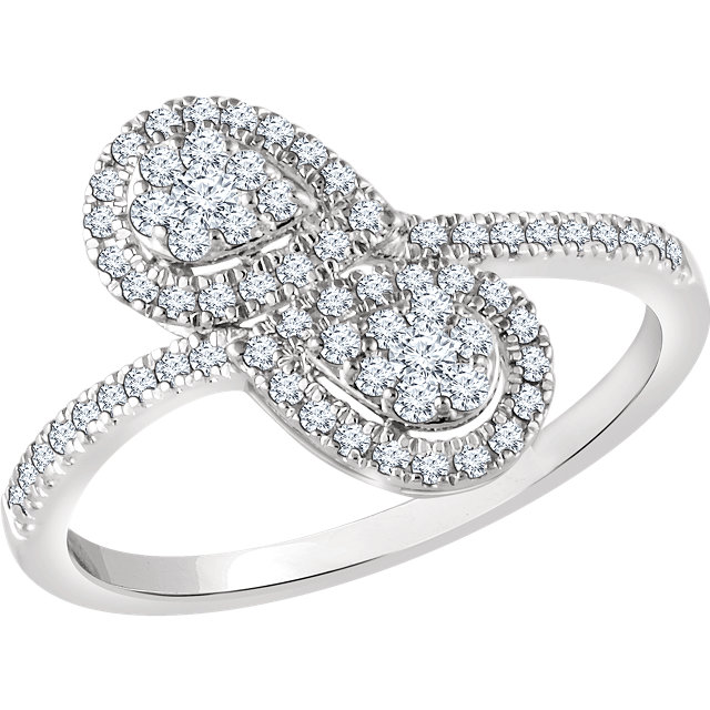 Beautiful 14 Karat White Gold 0.40 Carat Total Weight Diamond Double Pear Cluster Ring
