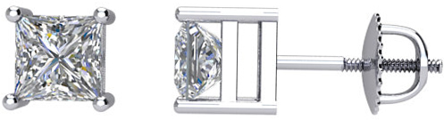 14 Karat White Gold 3/8 Carat Total Weight Diamond Earrings