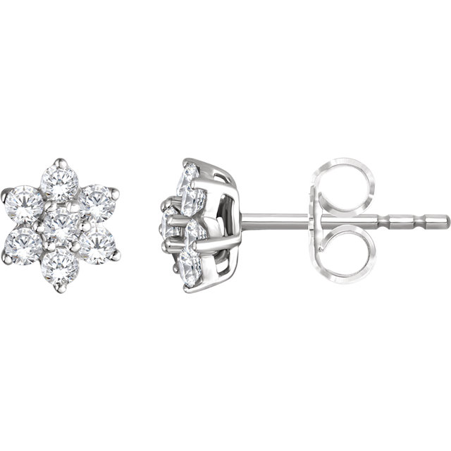 Stunning 14 Karat White Gold 0.40 Carat Total Weight Diamond Flower Earrings