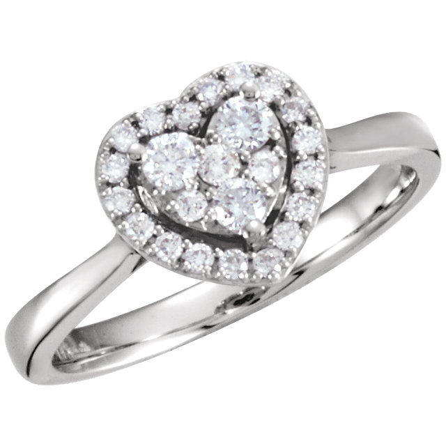 Low Price on Quality 14 KT White Gold 0.33 Carat TW Diamond Heart Ring