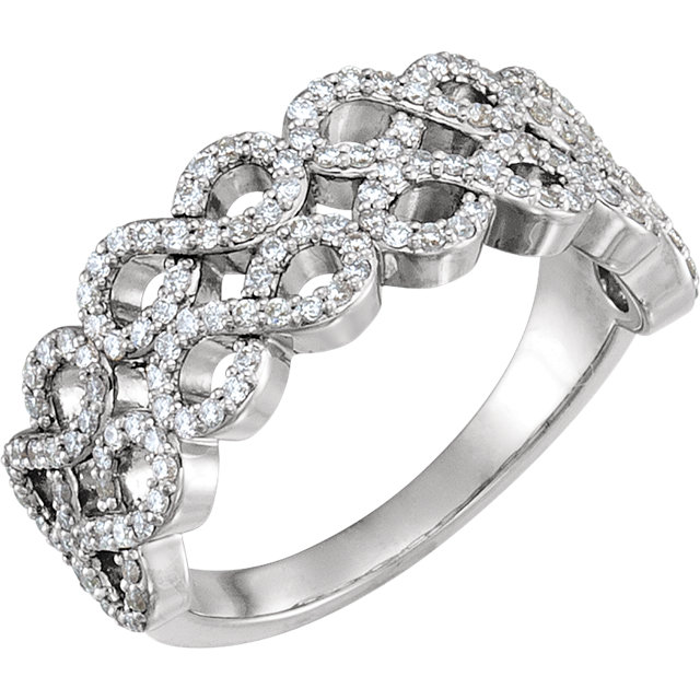Genuine 14 KT White Gold 0.40 Carat TW Diamond Infinity-Inspired Ring