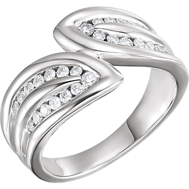 Shop 14 KT White Gold 0.40 Carat TW Diamond Leaf Ring