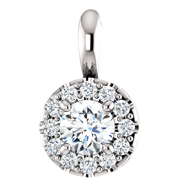 14 Karat White Gold 0.40 Carat Diamond Pendant