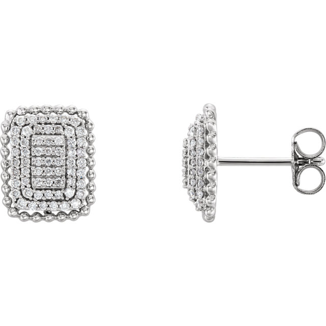 Graceful 14 Karat White Gold 3/8 Carat Total Weight Round Genuine Diamond Rectangle Cluster Earrings
