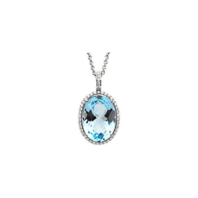 Wonderful 14 Karat White Gold 0.40 Carat Total Weight Diamond & Sky Blue Topaz Necklace
