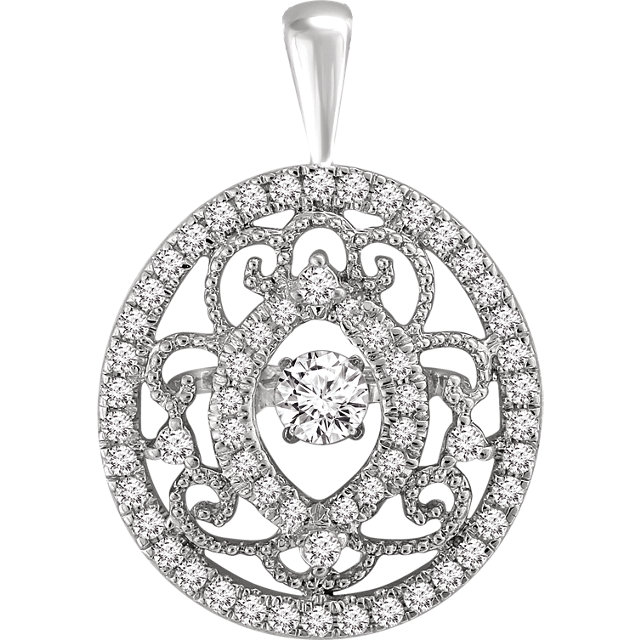 Attractive 14 Karat White Gold 3/8 Carat Total Weight Mystara Round Genuine Diamonds Vintage-Inspired Pendant