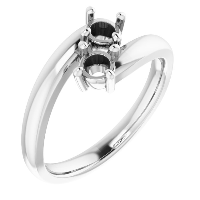 White Diamond Ring in 14 Karat White Gold 4.1mm Round 0.50 Carat Diamond Ring