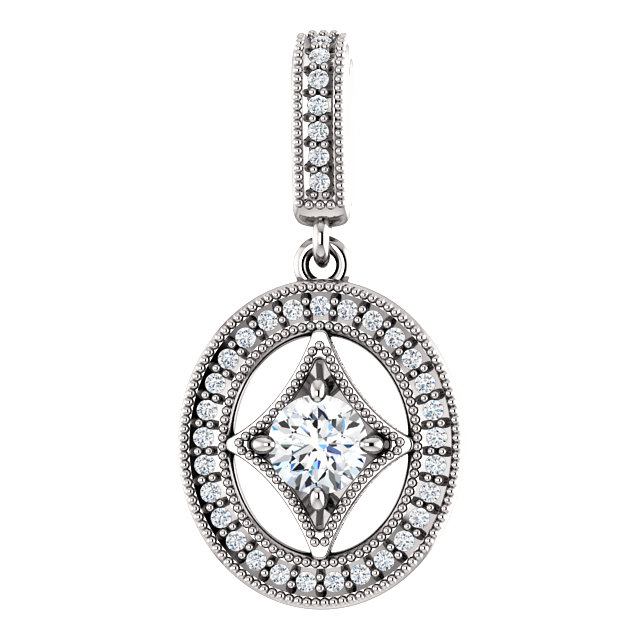 Contemporary 14 Karat White Gold 4.1mm Round 0.33 Carat Total Weight Diamond Pendant