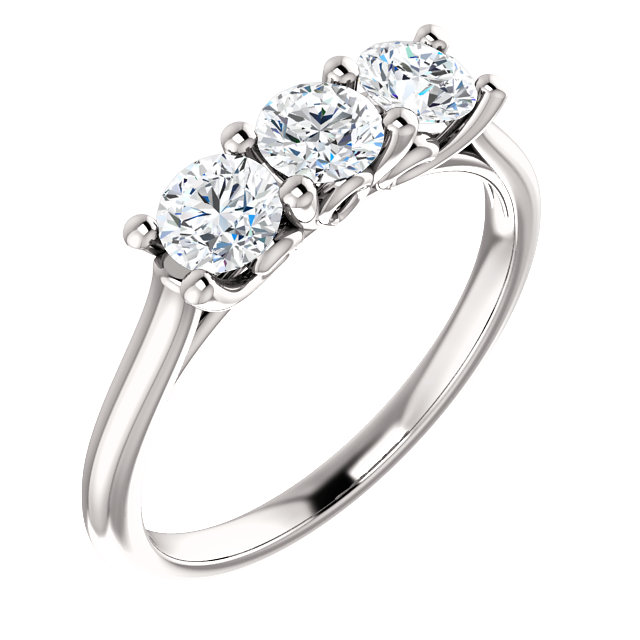 Easy Gift in 14 Karat White Gold 4.1mm Round 0.75 Carat Total Weight Diamond Engagement Ring