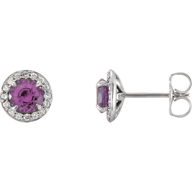 Appealing Jewelry in 14 Karat White Gold 4.5mm Round Amethyst & 0.17 Carat Total Weight Diamond Earrings
