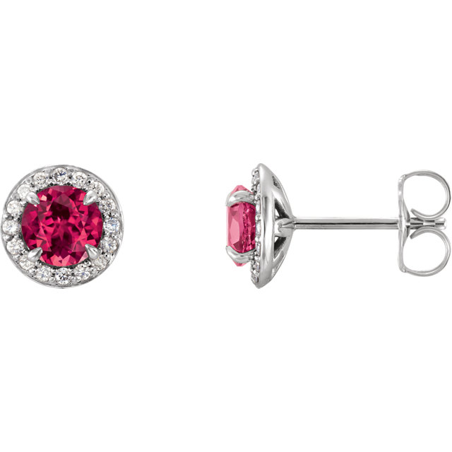 Contemporary 14 Karat White Gold 4.5mm Round Genuine Chatham Created Ruby & 0.17 Carat Total Weight Diamond Earrings