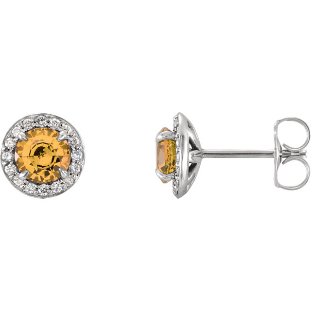 Stylish 14 Karat White Gold 4.5mm Round Genuine Citrine & 0.17 Carat Total Weight Diamond Earrings