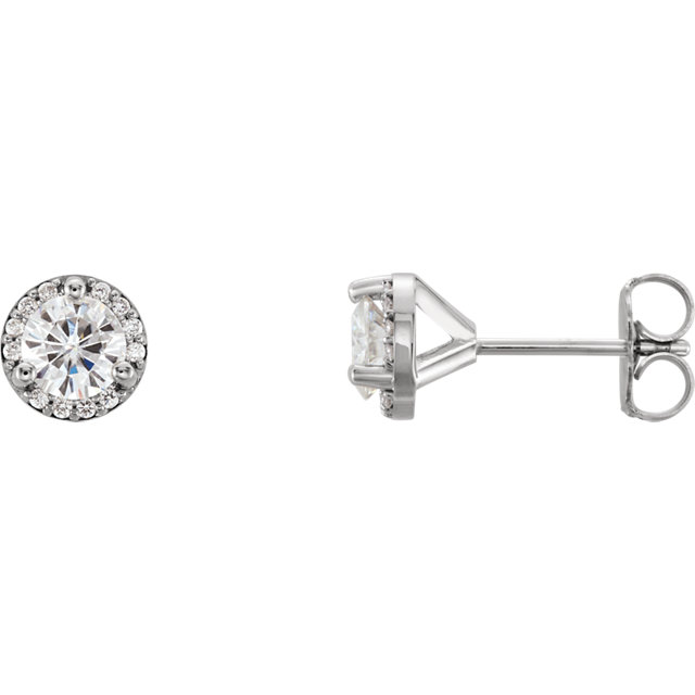 Beautiful 14 Karat White Gold 4.5mm Round Genuine Charles Colvard Forever One Moissanite & .07 Carat Total Weight Diamond Earrings