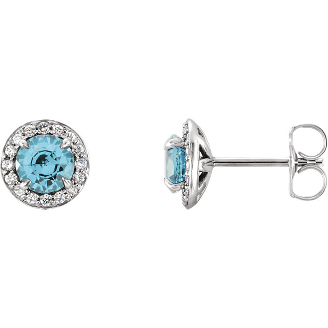 Eye Catchy 14 Karat White Gold 4.5mm Round Zircon & 0.17 Carat Total Weight Diamond Halo-Style Earrings