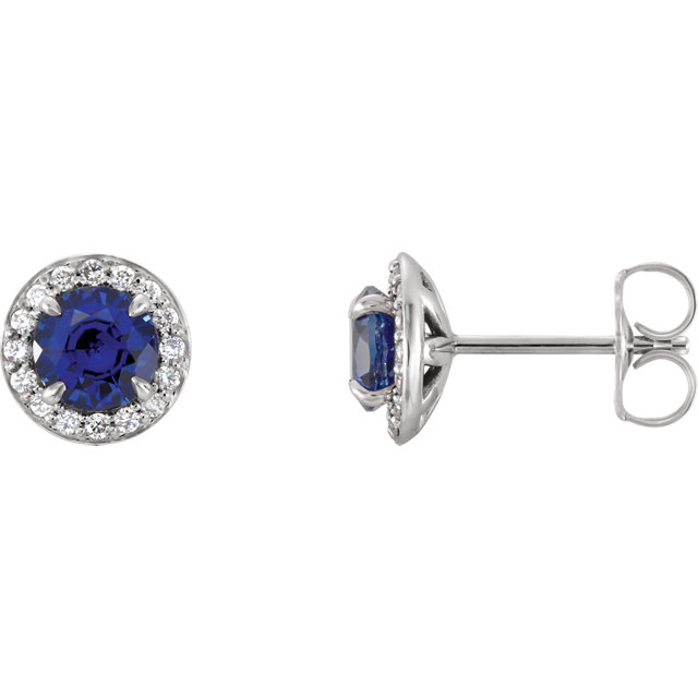 Chic 14 Karat White Gold 4mm Round Blue Sapphire & 0.12 Carat Total Weight Diamond Earrings
