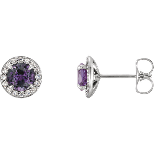 Contemporary 14 Karat White Gold 4mm Round Genuine Chatham Created Created Alexandrite & 0.17 Carat Total Weight Diamond Earrings