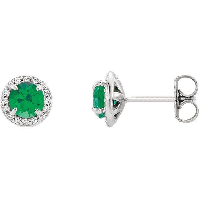 Appealing Jewelry in 14 Karat White Gold 4mm Round Genuine Chatham Created Created Emerald & 0.17 Carat Total Weight Diamond Earrings
