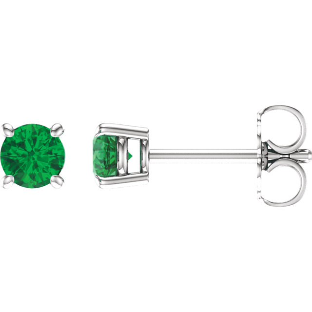 Genuine  14 Karat White Gold 4mm Round Genuine Chatham Emerald Earrings