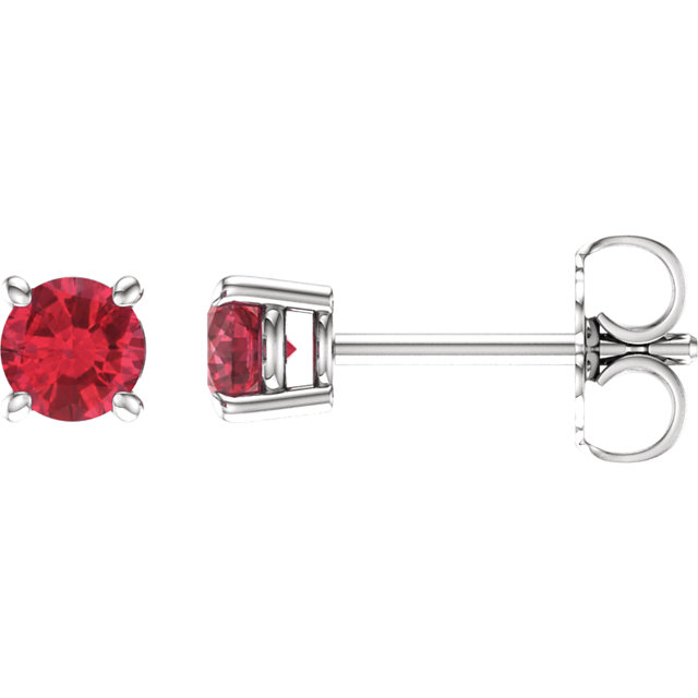 Gorgeous 14 Karat White Gold 4mm Round Genuine Chatham Created Created Ruby Earrings
