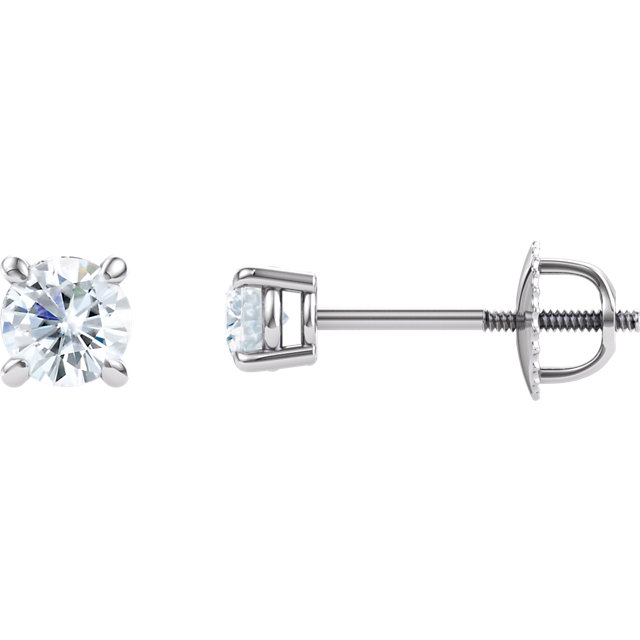Great Buy in 14 Karat White Gold 4mm Round Genuine Charles Colvard Forever One Created Moissanite Earrings
