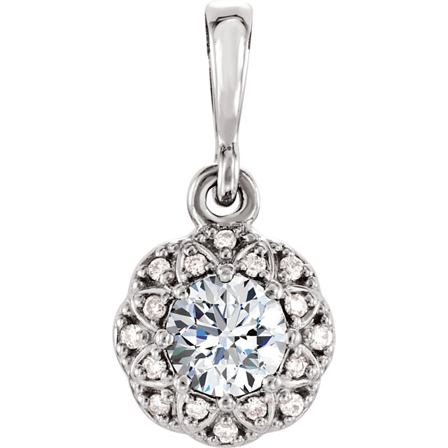 Perfect Jewelry Gift 14 Karat White Gold 4mm Round Genuine Charles Colvard Forever One Moissanite & .04 Carat Total Weight Diamond Pendant