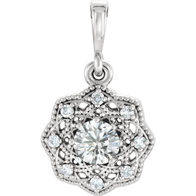 Surprise Her with  14 Karat White Gold 4mm Round Genuine Charles Colvard Forever One Moissanite & .06 Carat Total Weight Diamond Pendant