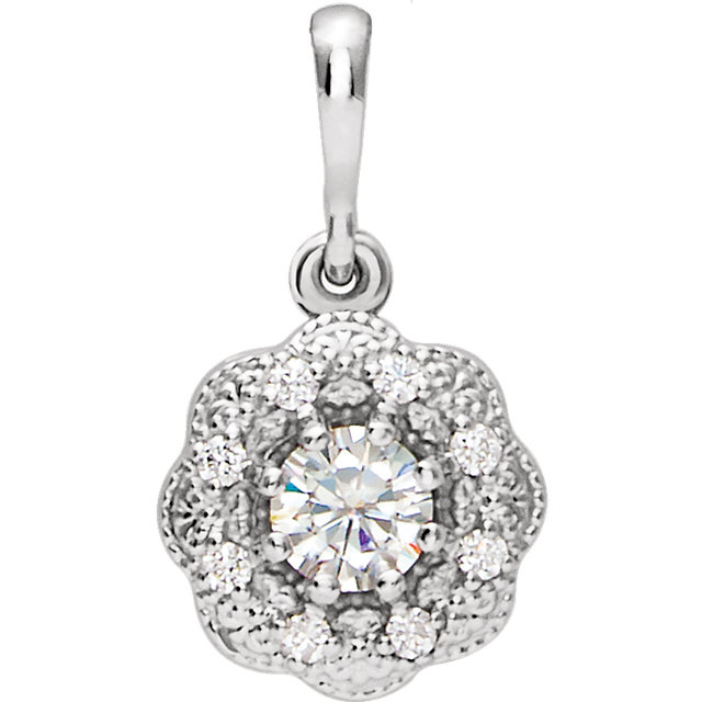 Appealing Jewelry in 14 Karat White Gold 4mm Round Genuine Charles Colvard Forever One Moissanite & .06 Carat Total Weight Diamond Pendant